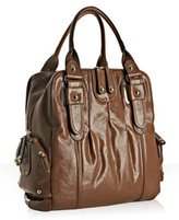 light brown glazed leather 'Gaby' north/south tote