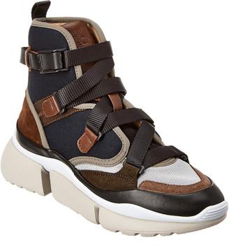 Chloé Sonnie Suede & Mesh High-Top Sneaker