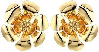 J.Crew Bethan Metal Flower Stud Earrings (Burnished Gold) Earring