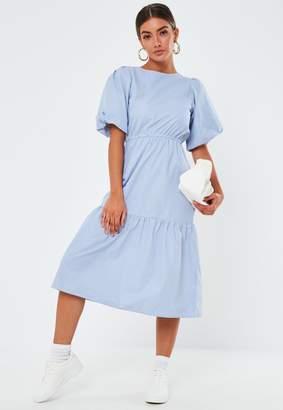 Missguided Blue Stripe Poplin Puff Sleeve Midi Dress