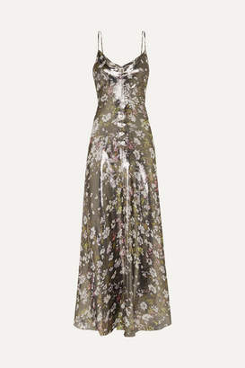 Ganni Floral-print Metallic Silk-blend Maxi Dress