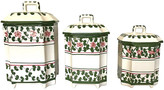 One Kings Lane Vintage Portuguese Ceramic Kitchen Canisters Set of 3 - Eat Drink Home - white/green/pink