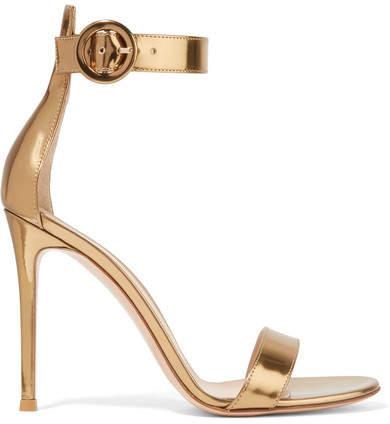 Gianvito Rossi Portofino 105 Metallic Leather Sandals - Gold