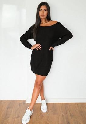 Missguided Petite Black Off Shoulder Sweater Dress