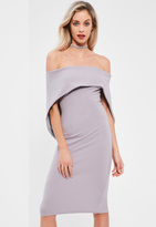 Missguided Lilac Fold Over Bandeau Midi Dress