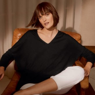 The White Company Jersey Batwing Sleeve Top, Black, 6