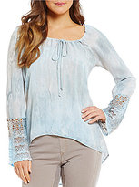XCVI Saint Barts Bell Sleeve Hi-Low Watercolor Top