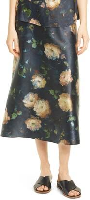Vince Painted Rose Silk Satin Midi Skirt