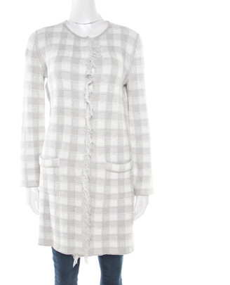 Armani Collezioni Grey and White Checked Fringed Trim Long Cardigan M