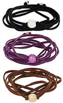 Honora Cultured Pearl Set of 3 Suede Wrap Bracelets