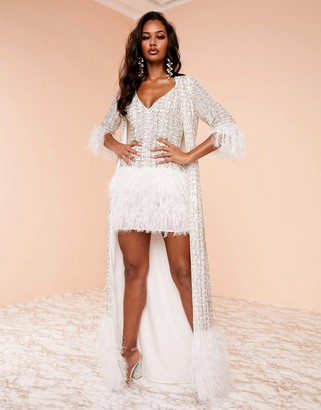 Asos Design DESIGN Luxe embellished feather gown jacket in white