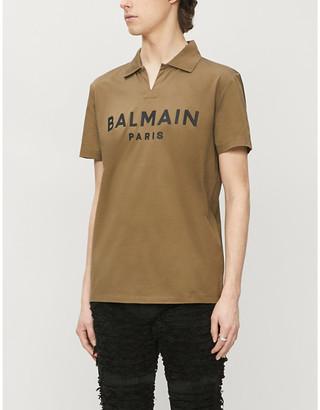 Balmain Logo-print V-neck cotton-jersey polo shirt