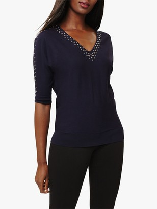 Phase Eight Stud Trim V-Neck Knit Top, Navy