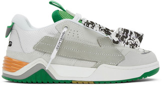 Off-White Grey and Green Arrow Skate Sneakers