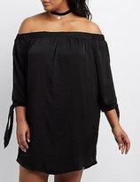 Charlotte Russe Plus Size Satin Off-The-Shoulder Shift Dress