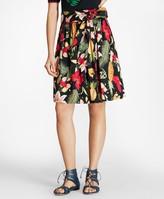 Brooks Brothers Tropical-Print Stretch Cotton Poplin Skirt