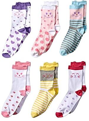 Jefferies Socks Cat Crew 6-Pack (Toddler/Little Kid/Big Kid) (Multi) Girls Shoes