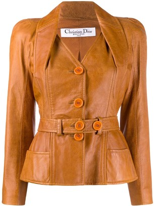 Christian Dior 2000s Pre-Owned Puffy Sleeves Leather Jacket