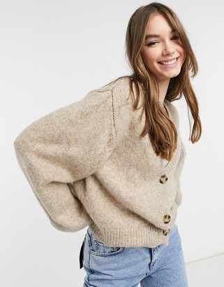 Bershka button front cardigan in camel