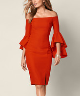 Venus Women's Casual Dresses ORDC - Rust Bell-Sleeve Off-Shoulder Midi Dress - Women
