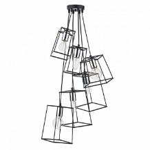 Dar Lighting - Black & Silver Cluster Tower 6 Pendant Light - Black/Silver