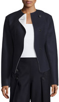 Cédric Charlier Tipped Wavy Wool-Blend Jacket, Dark Navy