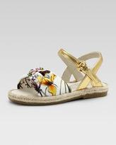 Gucci Golden Floral-Print Espadrille Sandal, Toddler