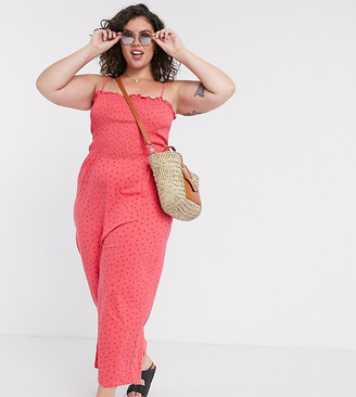 Glamorous Curve wide leg jumpsuit with shirred bodice in ditsy strawberry