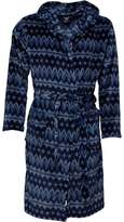 Fluid Mens Sealskin Aztec Hooded Robe Navy/Aztec