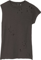 R 13 Asymmetric Distressed Cotton And Cashmere-blend T-shirt - large