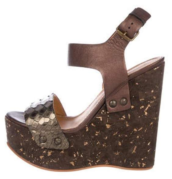 0214e51a588 Leather Ankle Strap Wedges Brown Leather Ankle Strap Wedges