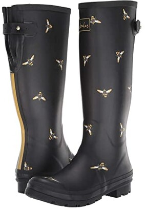 Joules Welly Print (Black Multi Bees) Women's Rain Boots