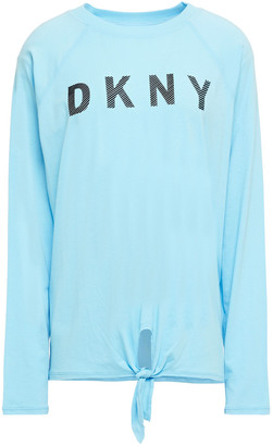 DKNY Printed Stretch Cotton And Modal-blend Top
