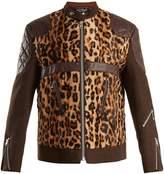 Junya Watanabe Leather-trimmed leopard-print faux-fur jacket