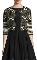 Lela Rose Ribbon-Embroidered Cropped Jacket, Black/White
