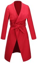 Allonly Women's Wool Blend Iregular Trench Coat Jacket With Belt