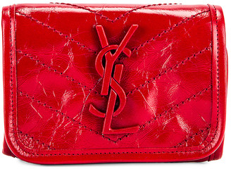 Saint Laurent Credit Card Wallet in Rouge Eros | FWRD