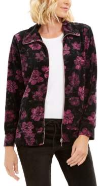 Karen Scott Petite Floral-Print Zip-Front Jacket, Created For Macy's