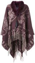 Etro cashmere jacquard fringed cape - women - Cashmere - One Size