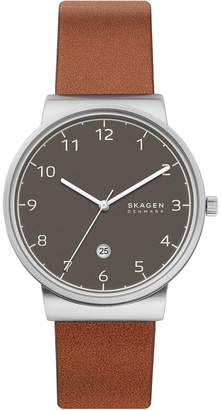 Skagen Men Ancher Brown Leather Strap Watch 40mm
