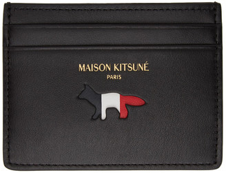 MAISON KITSUNÉ Black Leather Tricolor Fox Card Holder