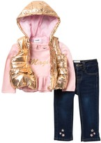 Hudson Jeans Metallic Puffer Vest, Long Sleeve Top, & Jeans Set (Baby Girls)