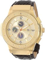 "JBW Men's JB-6101L-E ""Saxon Gold"" Braided Leather Diamond Watch"
