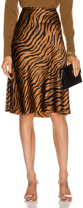 Nili Lotan Lane Skirt in Bronze Tiger Print   FWRD