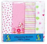 SpaSilk Flower Flannel Receiving Blanket (4-Pack)