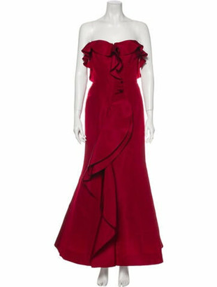 Oscar de la Renta Silk Long Dress Red