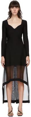 Alexander McQueen Black Rib Knit V-Neck Dress