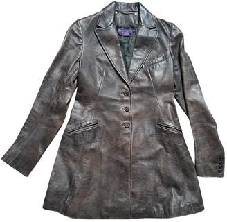 Ralph Lauren Brown Leather Coat for Women Vintage
