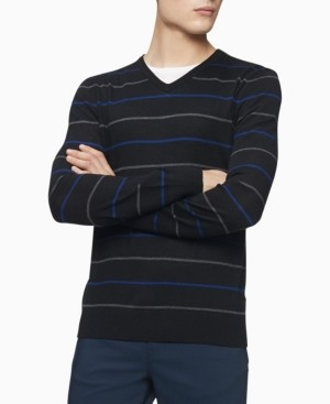 Calvin Klein Merino Double Stripe V-Neck Sweater