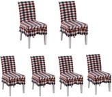 Deisy Dee Ruffled Skirt Stretchable Removable Washable Dining Chair Cover Spandex Seats Slipcover for Dinning Living Room(Pack of 6) C036